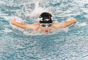 男子200メートル個人メドレー 優勝した永廣飛和(ビート小城)=佐賀市のSAGAサンライズパーク水泳場