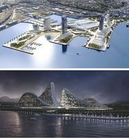 統合型リゾート施設(IR)のイメージ。上が横浜市(同市提供)、下が大阪市