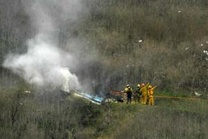 コービー・ブライアント氏が死亡したロサンゼルス近郊のヘリコプター墜落事故の現場=26日、カラバサス(AP=共同)
