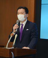 定例会見で、オスプレイ配備計画などへの所感を述べた山口祥義知事=佐賀県庁