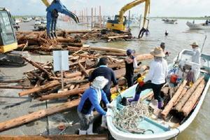 回収した流木を陸揚げする漁業者=佐賀市川副町の戸ヶ里漁港