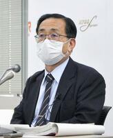 記者会見するJR東海の金子慎社長=29日午後、東京都内
