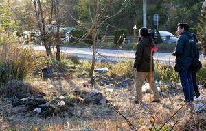 白骨遺体が見つかった現場付近=13日午後3時46分、愛知県知多市