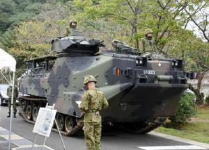 水陸機動団が運用する水陸両用車=佐世保市の陸上自衛隊相浦駐屯地