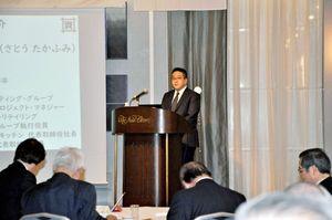 イノベーションをどう起こすかが企業の成長の鍵と話した佐藤社長=佐賀市のホテルニューオータニ佐賀