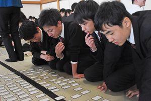 校内かるた大会で、真剣な表情で札を見つめる龍谷中・高の生徒たち=佐賀城本丸歴史館