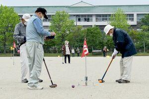 グラウンドゴルフを楽しむ参加者=佐賀市のスポーツパーク川副