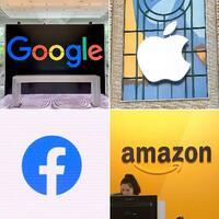 米国のグーグル、アップル、フェイスブック、アマゾン・コム各社のロゴマーク(共同)