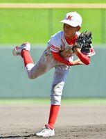 決勝・諸富南少年-川上小野球ク 5回からマウンドに上がり、力投する諸富南少年の野中大瑚
