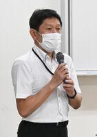 日本ガス石油機器工業会の前城典昭さん=佐賀市の県婦人会館