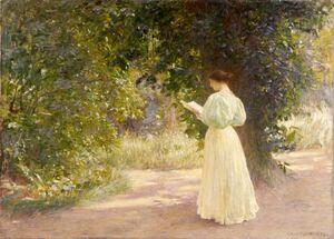 ラファエル・コラン「日だまり(くつろぎ)」(1896年、60センチ×81・5センチ、県立美術館蔵)