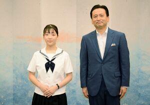 山口祥義知事を表敬訪問した高校生平和大使の川﨑花笑さん(左)=県庁