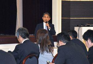 事業承継に向けて県内の経済5団体が開いた研修会=佐賀市のロイヤルチェスター佐賀