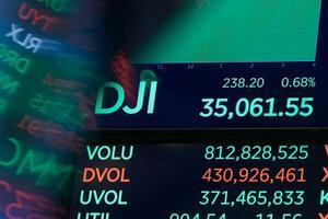 23日の終値を示すニューヨーク証券取引所のボード(AP=共同)