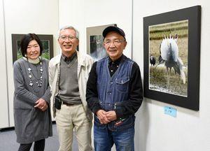 喜寿展を開いている(左から)岡留裕子さん、多々良清弘さん、紫村義行さん。右は鶴の求愛行動を捉えた写真=鳥栖市立図書館