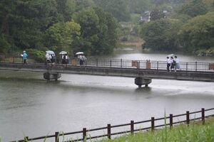 雨の鏡山公園を歩く高校生=唐津市