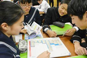 ボードを使って予算について意見を交わす生徒=佐賀市城内の佐賀大学附属中