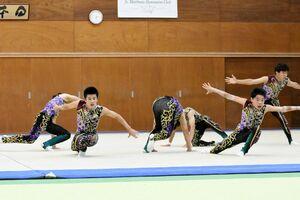 一体感のある演技を見せた神埼清明高の選手たち=神埼市の同校