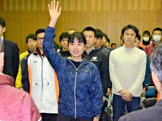 <県内一周駅伝>「3日間走り抜く」宣誓 神埼・吉野ヶ里チーム結団式
