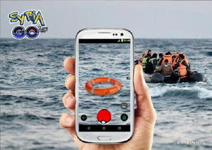 難民が漂う海を背景に浮輪が描かれた画像