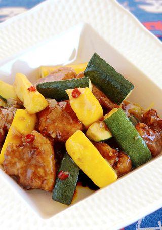 レシピ「ズッキーニの玄米黒酢 酢豚」