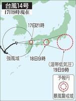 台風14号の予想進路(17日9時現在)