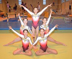オール鳥栖高勢で入賞を目指す体操の少年女子チーム=鳥栖市の鳥栖高