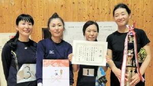 富士町体育協会主催ソフトバレーボール大会 女子の部優勝のチームたびとも