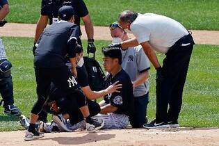 ヤンキース田中、頭部に打球