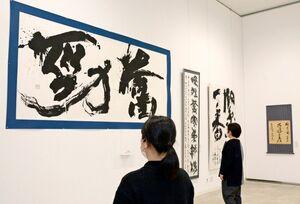 左手が瀬戸口洋さんの作品「奮勁」=佐賀市の佐賀大学美術館