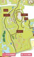 園内マップを拡大すると施設の名前やトイレの位置が表示される
