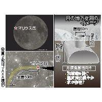 月の地下空洞のイメージ(写真2枚はJAXA提供)
