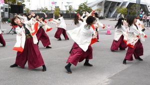 よさこいの演舞を披露する佐賀大のサークル「嵐舞」=佐賀市