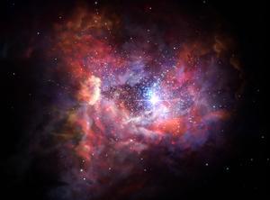 132億年前の銀河の想像図(欧州南天天文台など提供)