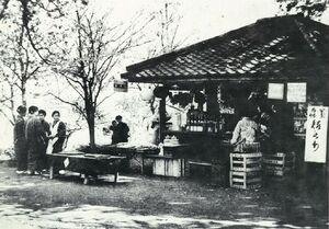 大正中ごろ、舞鶴公園の茶屋(勝木茶屋)=市提供