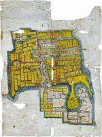 蓮池藩の城下町の地図。右の下部に蓮池城や小曲館が描かれ、中央には武家屋敷群がある。主要な通りには町家が立ち並んでいる(小城市文化課提供)