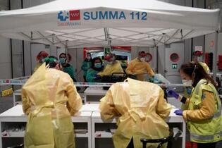 スペイン感染者、イタリアに並ぶ
