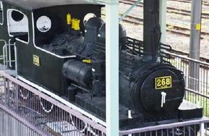 鳥栖機関区で活躍し、絵本のモデルとなった268号機関車=JR鳥栖駅東側