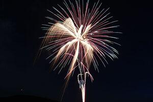 鏡地区で打ち上げられたサプライズ花火=唐津市、22日午後8時20分ごろ