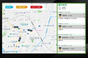 バスロケーションシステムのイメージ図。バスの現在地や待ち時間などが分かる