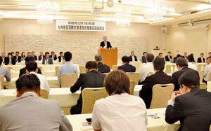 佐賀空港の利用客増加に向け、本年度予算を承認した九州佐賀国際空港活性化推進協議会=佐賀市のグランデはがくれ