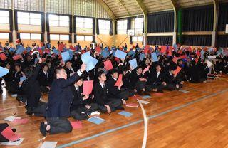 敬徳高で知事選の模擬討論会 生徒ら県政の課題吟味