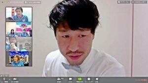 ウェブの会議アプリを使って豊田陽平選手らとサポーター約350人が交流した
