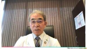 WHOと連携した小児がん対策などを解説する中川原章理事長(動画配信から)