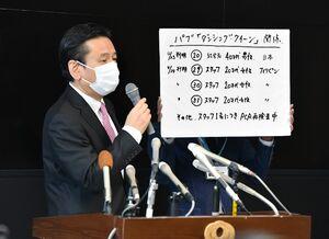 佐賀市のフィリピンパブ従業員の感染が確認されたことを受け、臨時会見で説明する山口祥義知事=24日午前、佐賀県庁