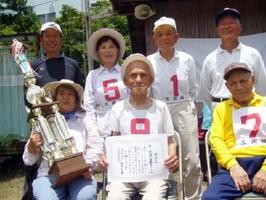 第213回岩﨑新聞店宮野GB拡大大会で優勝した山内混成Aチーム