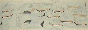「小児の弄鯨一件の巻」(1849年写、縦26・6×横1154センチ)