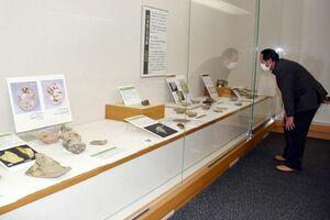 127の陶片から武雄で焼き物が始まったころの陶器や技法を紹介している企画展「かけらで再発見」=武雄市図書館・歴史資料館