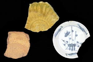 左から縄文式土器、瀬戸・美濃陶器、有田磁器