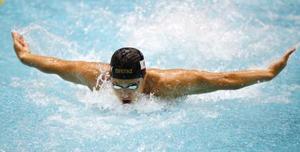 男子200メートル個人メドレー決勝 1分51秒40の大会新で優勝した瀬戸大也のバタフライ=東京辰巳国際水泳場